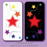 Le style Mobil téléphonent le cas Étoiles et courbes colorées par arc-en-ciel sur les milieux blancs et noirs illustration libre de droits