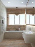 Le style moderne de salle de bains, 3D rendent Photos stock