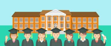 Le style plat badine l'obtention du diplôme et le bâtiment scolaire Images stock