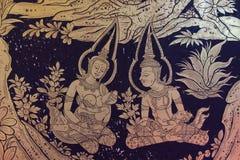 Le style thaïlandais antique a doré la peinture Photographie stock