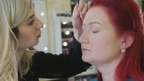 Le styliste de maquillage fait de beaux sourcils à la jeune femme rousse à la boutique de beauté clips vidéos