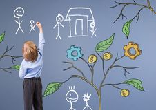 Le stylo de participation d'enfant et le dessin des graphiques de gestion sur l'usine s'embranche sur des croquis de mur et de fa Image stock