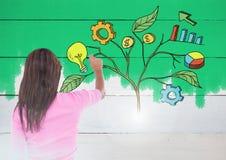 Le stylo de participation de femme et le dessin des graphiques de gestion sur l'usine s'embranche sur le mur photographie stock libre de droits