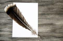 Le stylo et le papier nostalgiques de plume d'oiseau Photos libres de droits