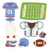 Le succès accessoire sportif uniforme d'athlète de sport d'action de joueur de football américain jouant des outils dirigent l'il Photographie stock