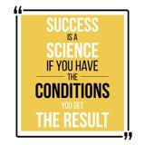 Le succès est une science Affiche de motivationla de vecteur illustration libre de droits