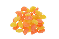 Le sucre de vue supérieure a enduit la sucrerie d'orange et de citron Images stock