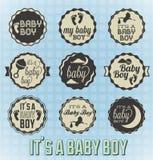 Le sue etichette ed icone di un neonato Fotografie Stock
