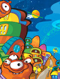Le sujet d'étrangers - UFO - étoile - jardin d'enfants - menu - écran - l'espace pour l'humeur heureuse et drôle des textes - - il Images libres de droits