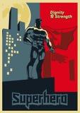 Le super héros examine la distance Affiche graphique bleue et rouge Images stock