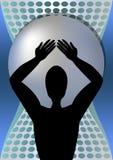 Le super héros tenant dessus le sien épaule une boule énorme en métal, silhouette noire d'homme musculaire illustration de vecteur