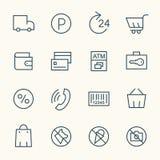 Le supermarché entretient des icônes Photographie stock