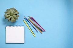 Le supplie assorti d'école avec carnets sur le fond bleu Image stock