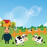 Le support d'agriculteur avec ses bétail de vache à ferme mangent l'herbe dans l'illustration verte de dessin de vecteur de bande Photo stock