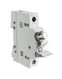 Le support de fusible électrique a ouvert la position d'isolement sur le backgro blanc Photographie stock libre de droits