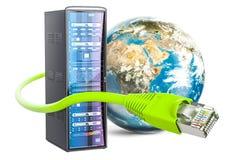 Le support de serveur et l'Internet de LAN câblent avec le globe de la terre Inte global Image stock