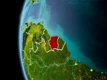 Le Surinam de l'espace dans la soirée illustration de vecteur