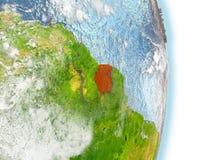 Le Surinam en rouge sur terre illustration stock