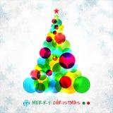 Le symbole abstrait d'arbre de Noël fait de cercles colorés recouvrent illustration libre de droits