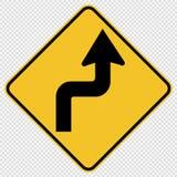 le symbole courbe en avant le bon panneau routier du trafic sur le fond transparent illustration stock
