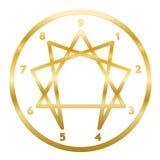 Le symbole d'or d'Enneagram numérote l'anneau de personnalité de cercle illustration stock