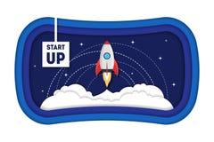 Le symbole de bande dessinée commencent le vaisseau spatial de concept Rocket Paper Art Vecteur illustration libre de droits