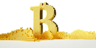 Le symbole de Bitcoin fond dans l'or liquide Chemin Photos stock