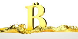 Le symbole de Bitcoin fond dans l'or liquide Chemin Images stock