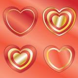 Le symbole de coeur avec le rouge et la feuille d'or sur le fond rouge déjouent Images stock