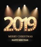 Le symbole de compte de la nouvelle année 2018 avec des projecteurs illustration de vecteur