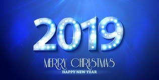 Le symbole de compte de la nouvelle année 2019 avec les ampoules illustration de vecteur