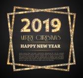Le symbole de compte de la nouvelle année 2018 avec les ampoules illustration stock