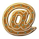 Le symbole de courrier de pain d'épice a décoré le glaçage coloré Photos stock
