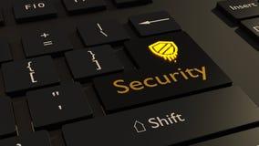 Le symbole de fusion en jaune sur le clavier noir écrivent le cybersecur de clé Photos libres de droits