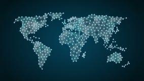 Le symbole de la monnaie du bitcoin fait une carte du monde, l'internet des choses technologie financière 1 banque de vidéos