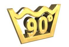 Le symbole de lavage de 90 degrés en or a isolé - 3D Photographie stock libre de droits