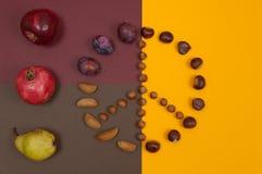 Le symbole de paix des écrous et de l'automne porte des fruits sur le fond de fente Photos stock