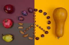 Le symbole de paix des écrous et de l'automne porte des fruits sur le fond de fente Photo libre de droits