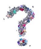 Le symbole de point d'interrogation fait en gemmes et argent bleu a coloré les roches métalliques sur un fond blanc Photographie stock libre de droits