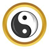 Le symbole de Yin et de yang dirigent l'icône, style de bande dessinée Photo libre de droits