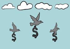 Le symbole dollar abstrait de croquis de griffonnage d'aspiration de main avec des oiseaux volent en ciel Image libre de droits