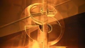 Le symbole dollar en verre avec des fractures et rougeoyer affile sur le fond foncé de pointe, calibre de couverture financier Image libre de droits