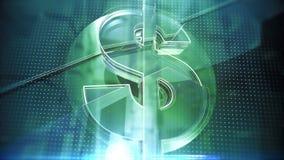 Le symbole dollar en verre avec des fractures et rougeoyer affile sur le fond foncé de pointe, calibre de couverture financier Photographie stock libre de droits