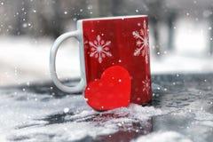 Le symbole du coeur rouge d'amour et de fidélité forment comme cadeau pour Valentine Day Images libres de droits