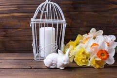 Le symbole du lapin décoratif de Pâques, les jonquilles colorées fleurit Image libre de droits