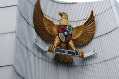 Le symbole du pays de l'Indonésie à la ville commémorative Bandung Java occidental Image libre de droits