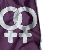 le symbole gai de femme a ridé le drapeau, l'espace pour le texte Photos stock