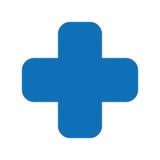 le symbole médical croisé a isolé la conception d'icône Photo libre de droits