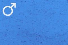 Le symbole masculin Mars de genre signent plus de le fond inégal bleu de texture Images libres de droits