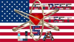 Le symbole nucléaire des Etats-Unis de test de tension marque avec des lettres des collages illustration stock